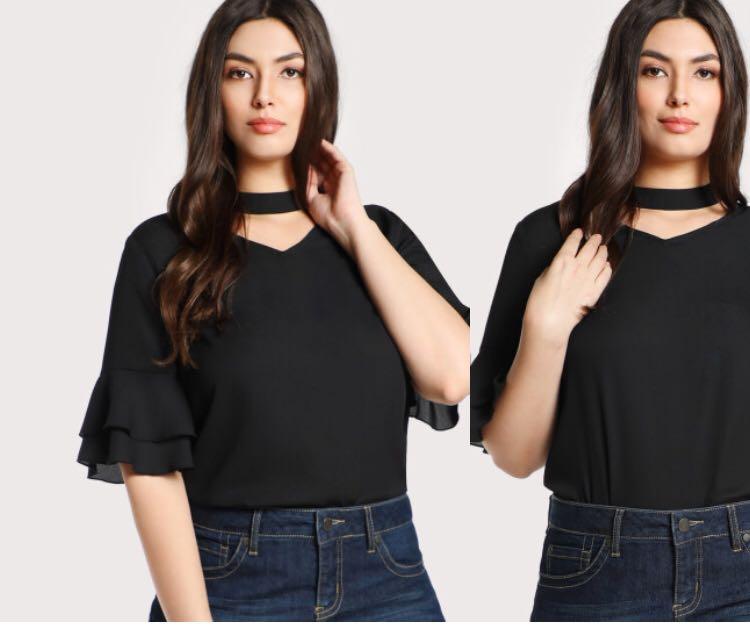Flare sleeve choker blouse
