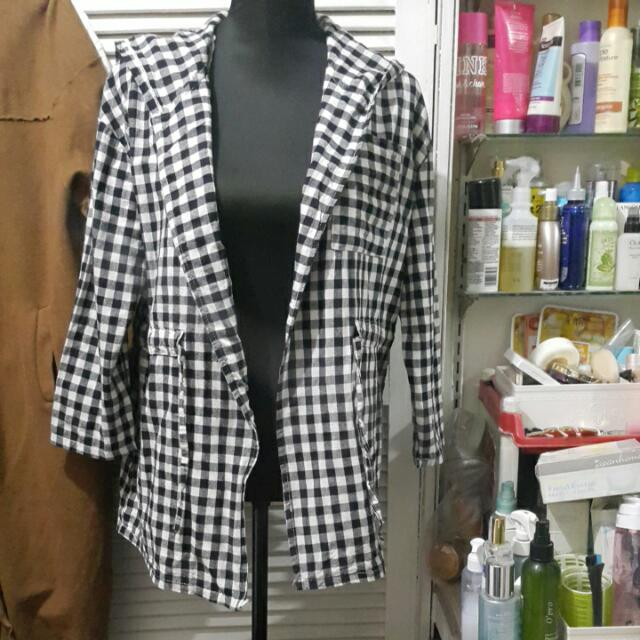 Gingham Plaid Hooded Jacket With Drawstring Waist