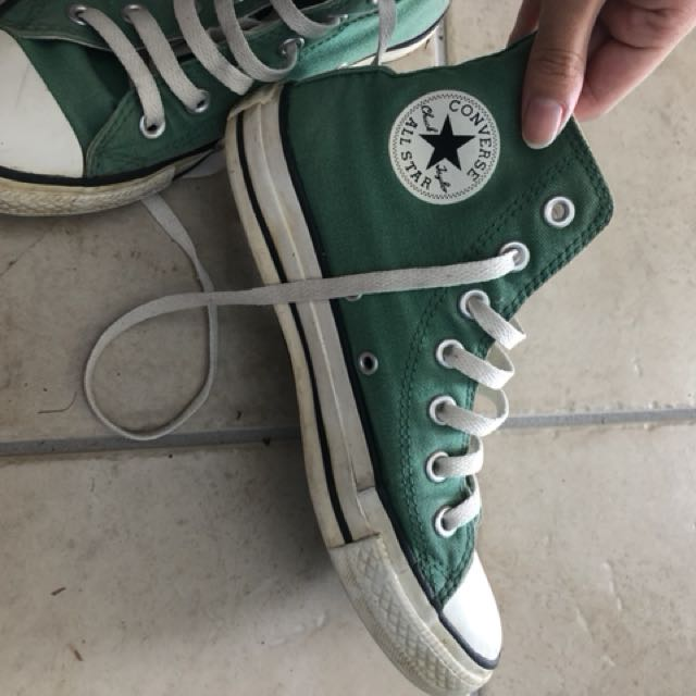 Green converse high tops