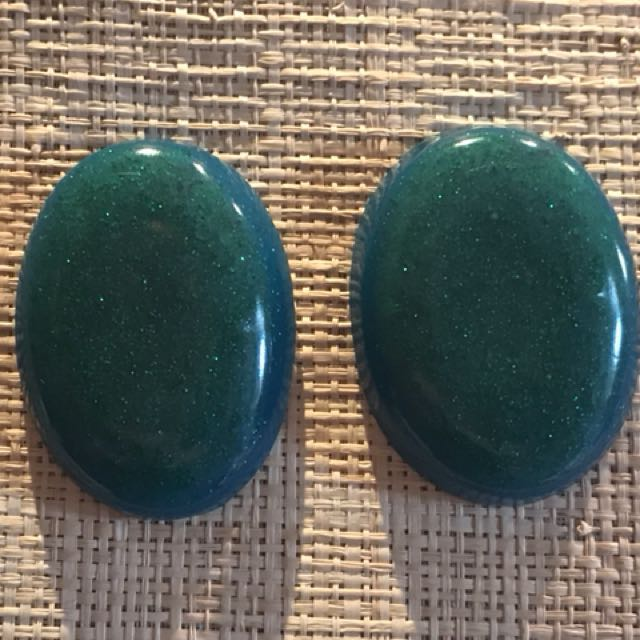 Handmade turquoise and green glitter resin large cabochon studs