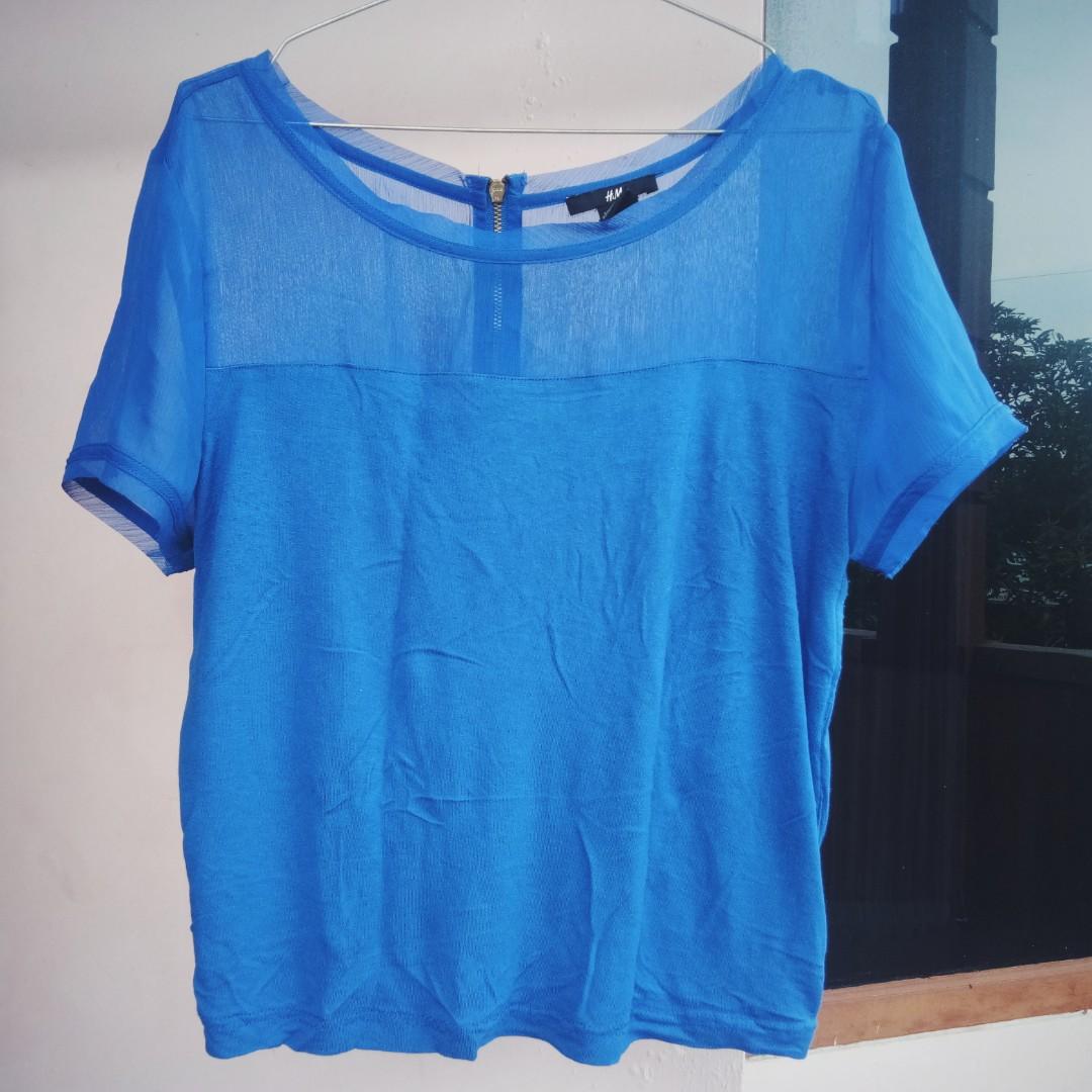 H&M blue crop top