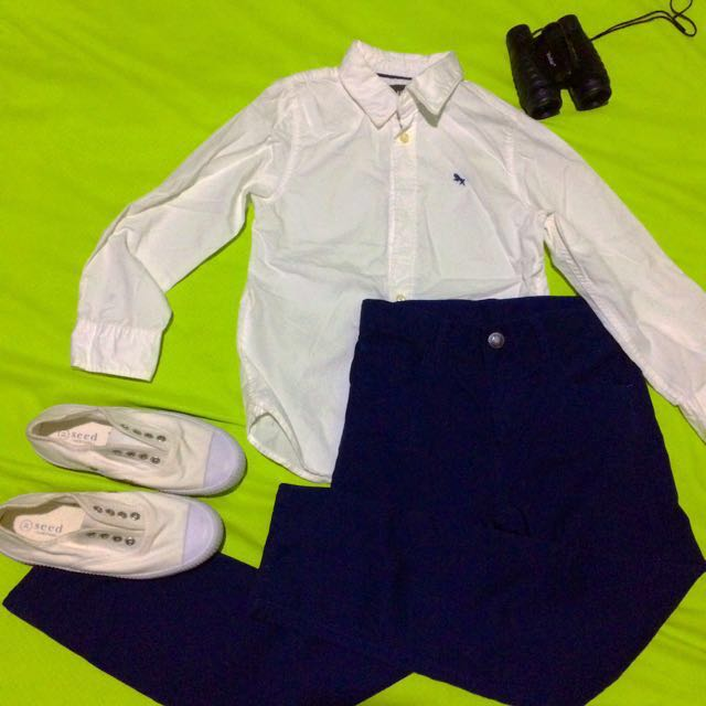 H&M Blue Pants | [SOLD] H&M LOGG Boy's White Longsleeves |  [SOLD] SEED Dirty White Canvas Shoes