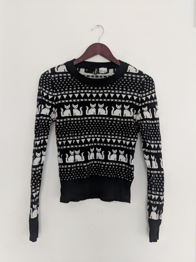 H&M kitten pattern sweater sz 8