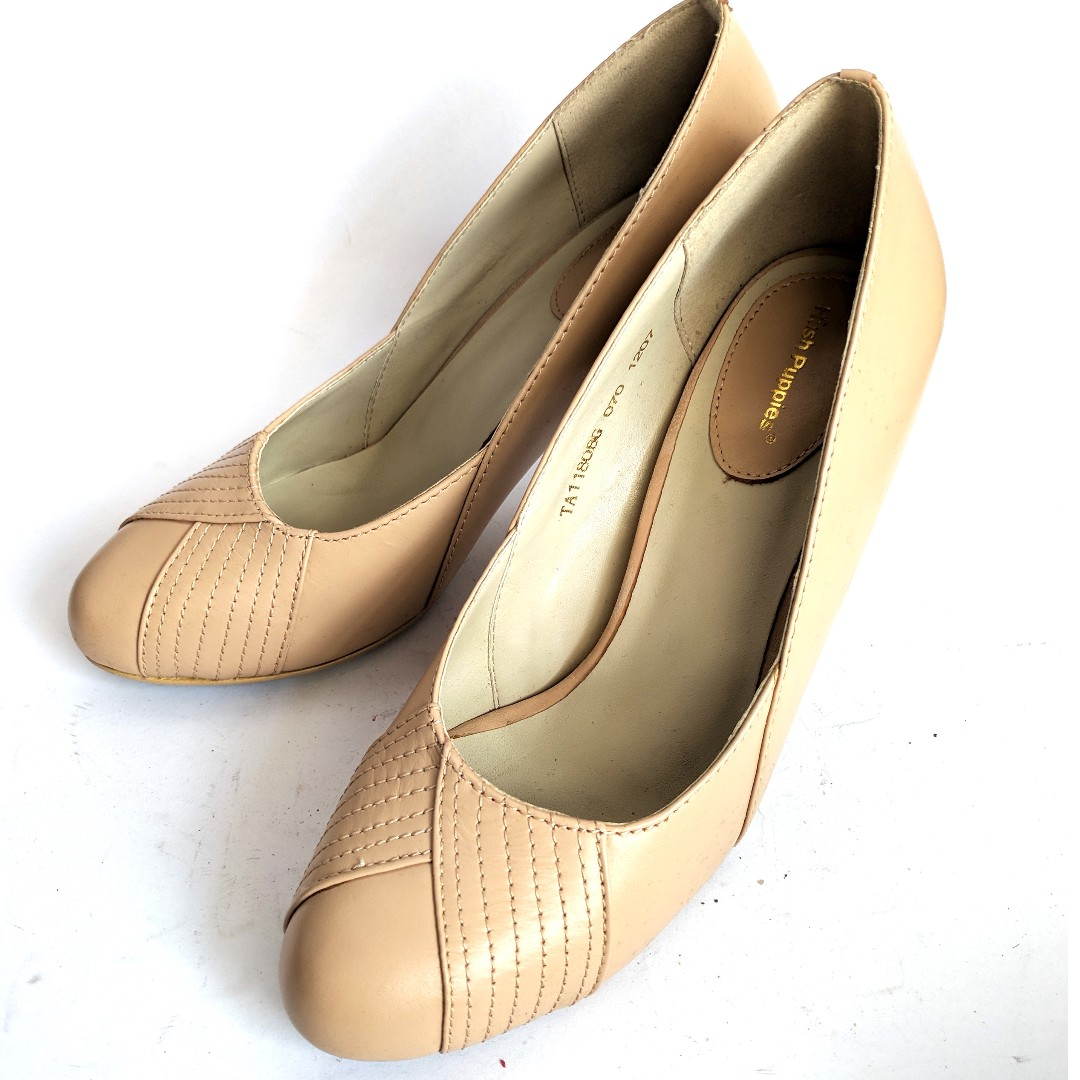 Hush Puppies Cream Heels Sepatu Wanita Ori Classic Leather Preloved