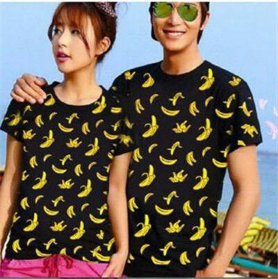 Kaos Couple / Baju Couple / Kaos Pasangan Banana 01 (putih,hitam,merah), Olshop Fashion, Olshop Wanita on Carousell