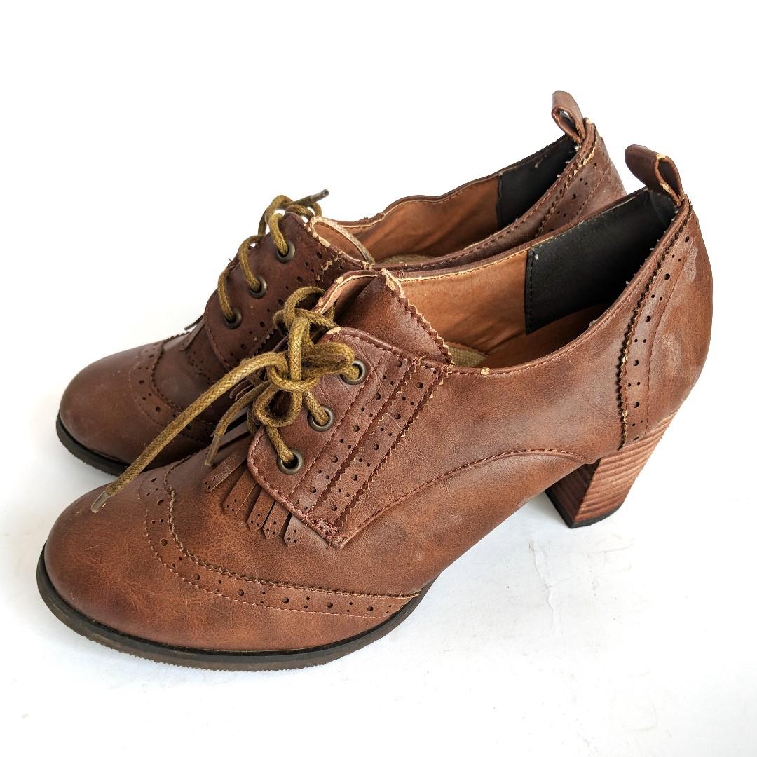 Kawaii Mori Girl Shoes Heels Cute Casual Leather Brown Preloved Second Japan