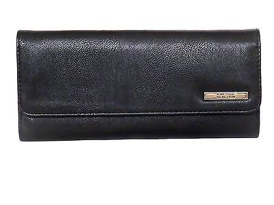 Kenneth Cole Reaction Womens Elongated Clutch Trifold Wallet Black