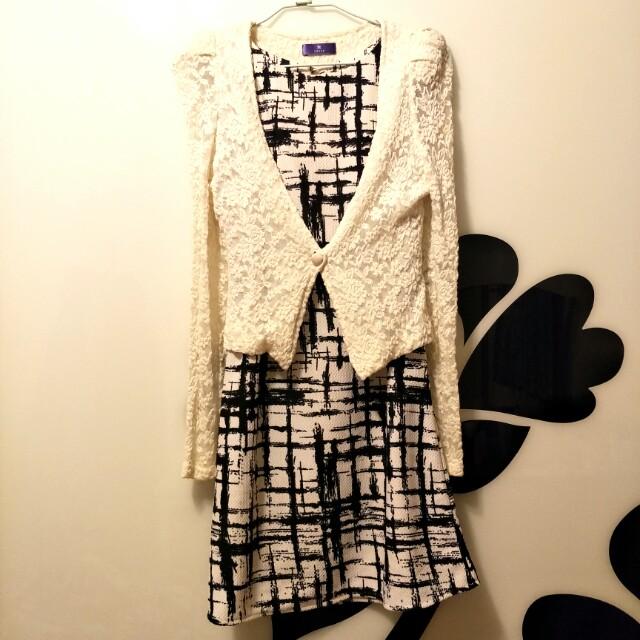 Kezza蕾絲小外套+背心洋裝整套賣