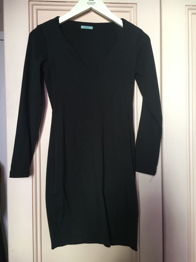Kookai Black bodycon long sleeve dress