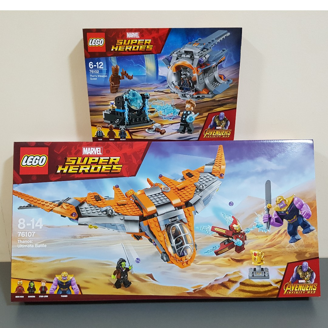 Set Dealer Daily Login >> Lego 76102 76107 Marvel Milano Thor's Weapon Quest Thanos Ultimate Battle Avengers Infinity War ...