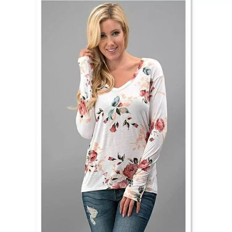 Long sleves floral blouse