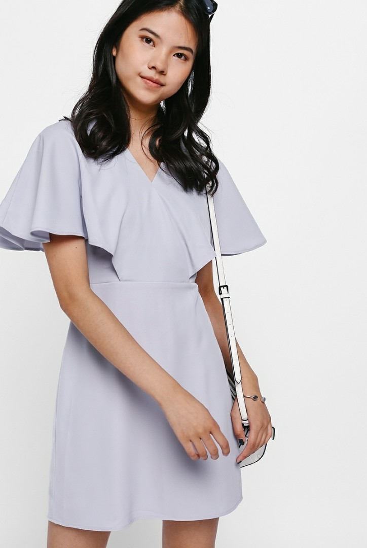 Love Bonito Fran Flutter Sleeve Dress (Grey)