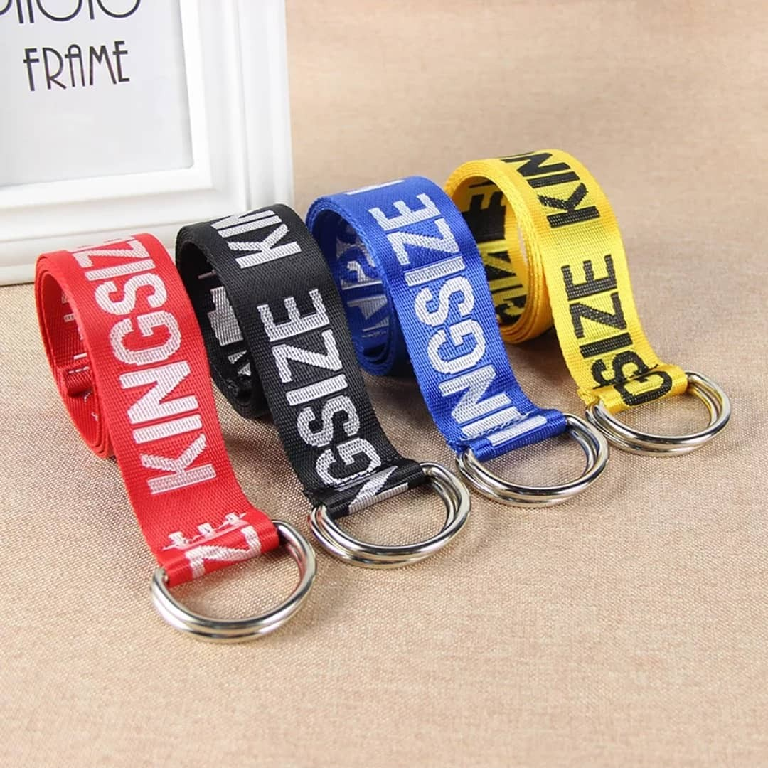 Men Fashion Light Reflective Canvas Belt KINGSIZE Ring Buckle Swag Style