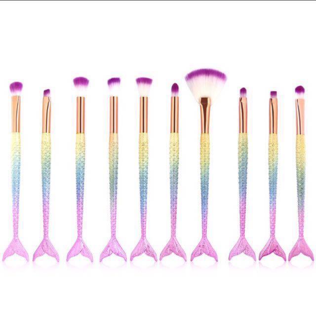Mermaid make up brushes set of 10