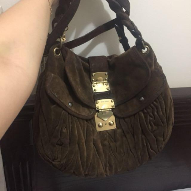 Miu Miu Suede Coffer Bag
