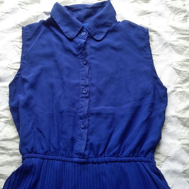 Navy Blue Pleated Dress