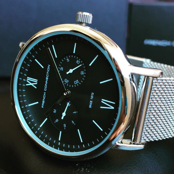 NEGOTIABLE-Brand New FCUK 42mm Silver Black Stainless Steel Watch