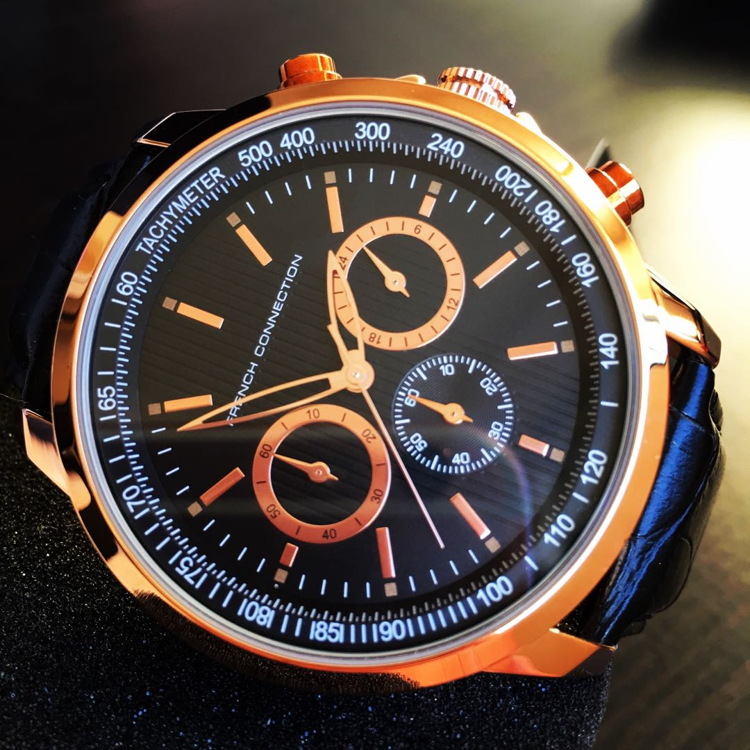 NEGOTIABLE-Brand New French Connection 44mm Rose Gold Tachymeter Watch