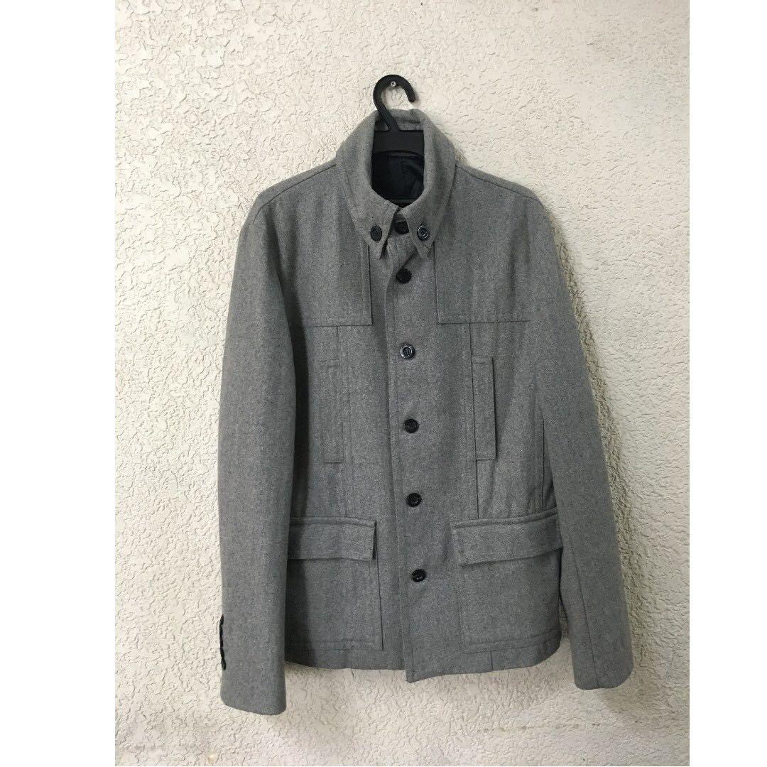 (NEW)正韓 TASSO 100%羊毛 短大衣 灰色 可參考Plainme uniqlo ZARA