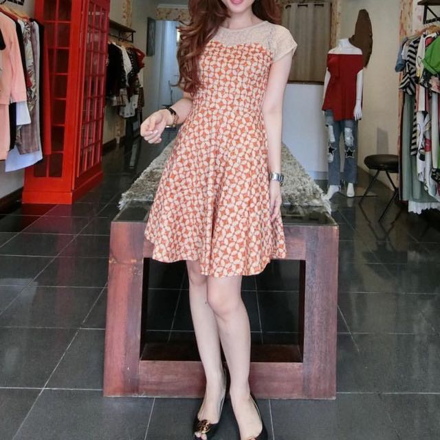 Orange dress fit S-M