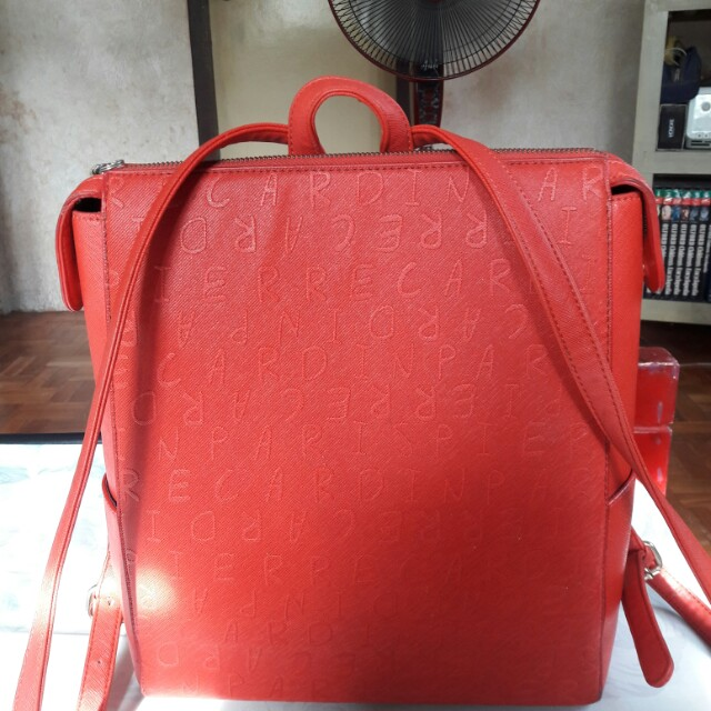 Pierre Cardin Faux Leather Red Backpack