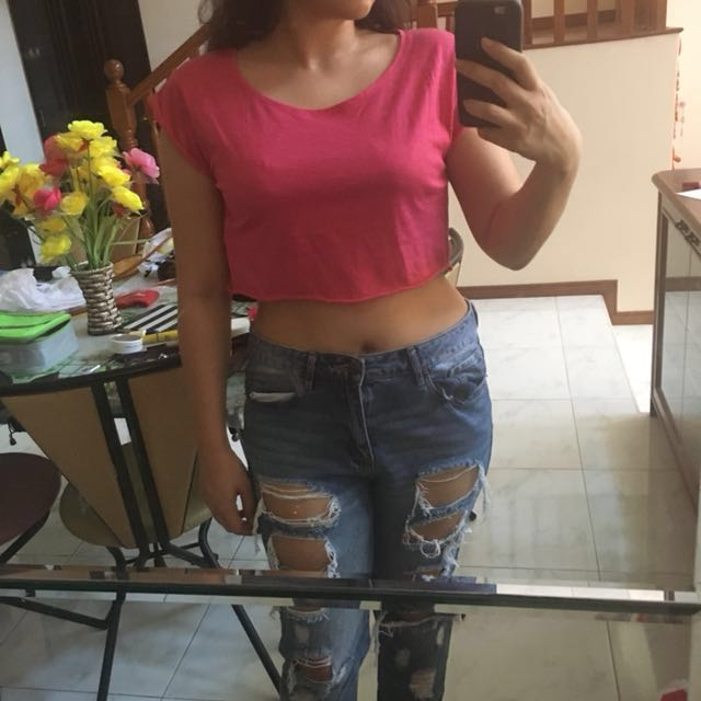 ❤️Pink Folded Cotton Crop Top