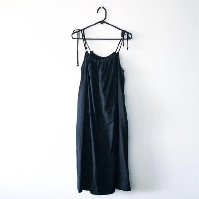 PIPER black midi linen dress