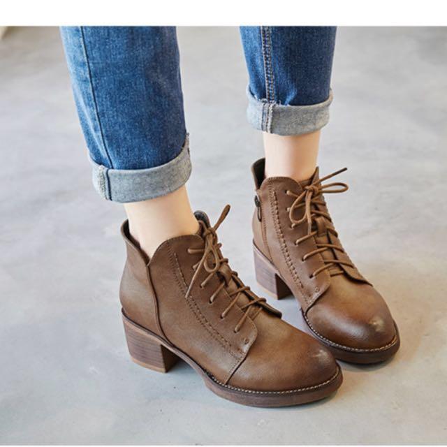 Ptt合購版熱門復古擦色短靴