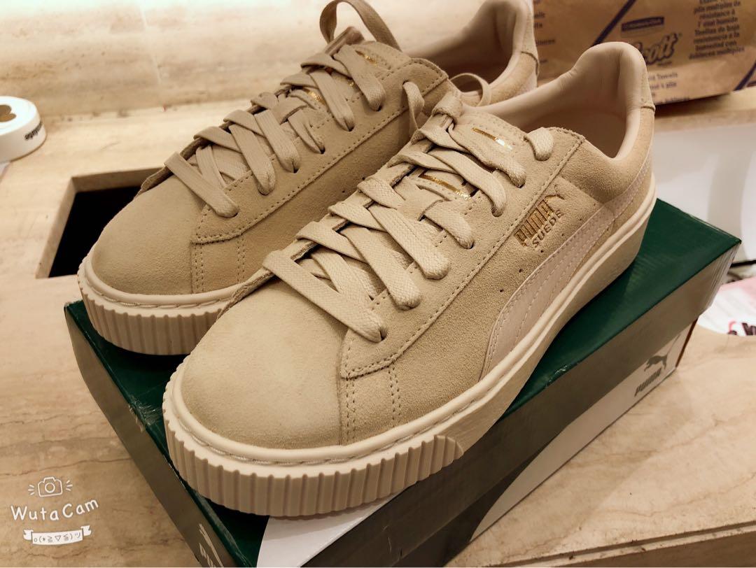 Shoes Platform Puma In Beige Fashion Women's Satin Suede zqxZU