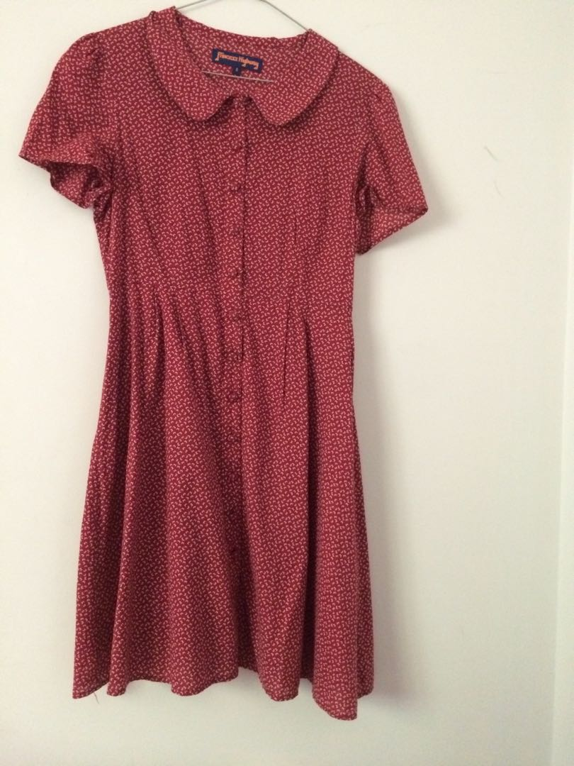 Red Patterned Picnic Dress