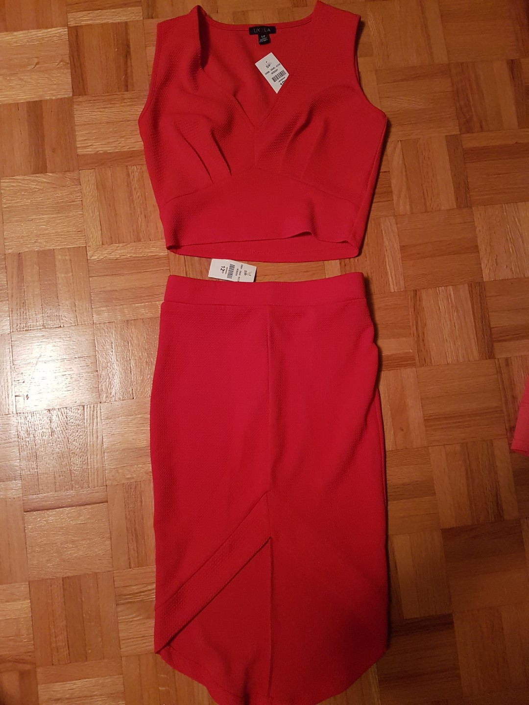 Red Top and Skirt Set
