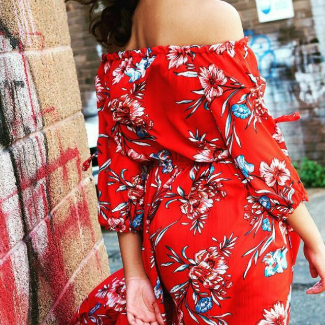 Red/Floral Maxi Dress