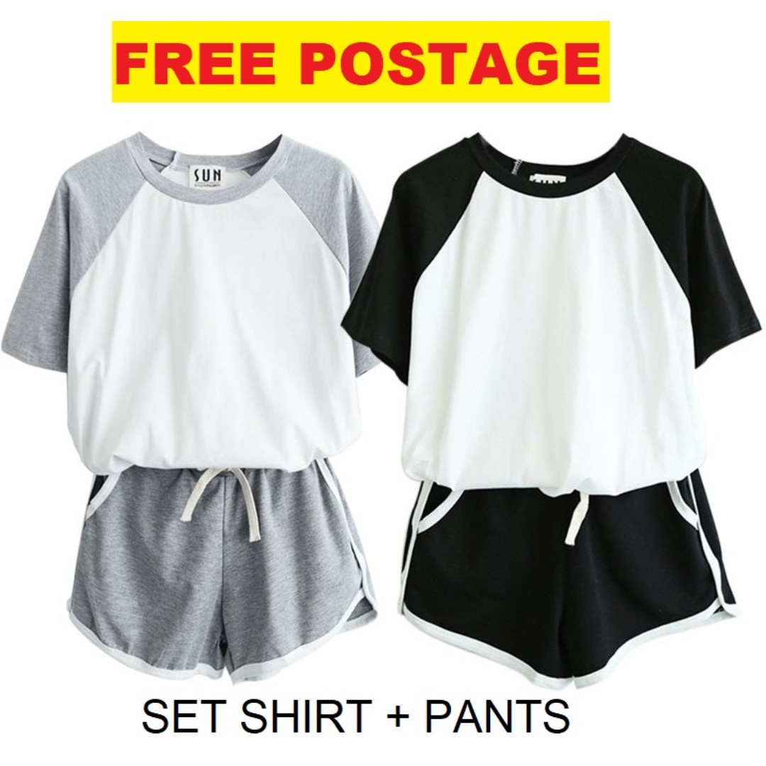 [SET] Women Sports Set Gym T-Shirt + Shorts Set Outfits Clothing