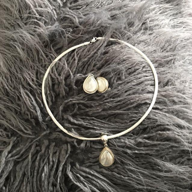 Silver teardrop pendant & earrings
