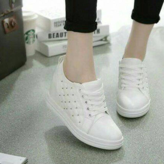 02f97a3cbfd Sneakers Wedges Boots Putih Korean - Boots Wedges Korea Fashion ...