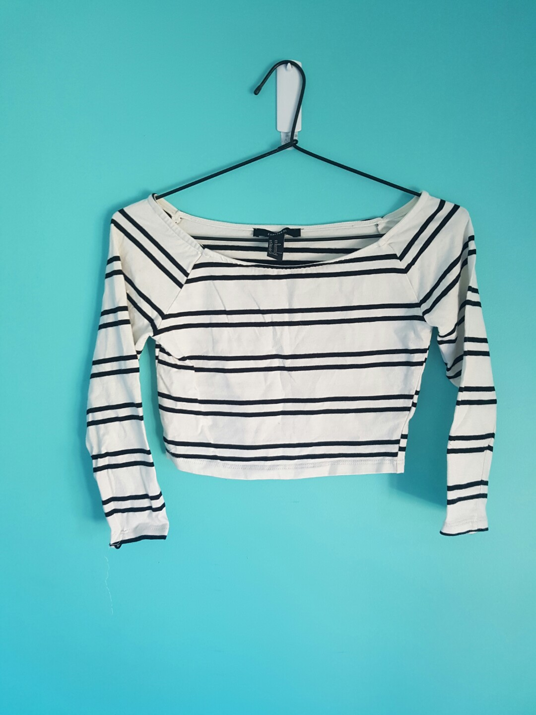 Striped Off The Shoulder 3/4 Sleeve Top