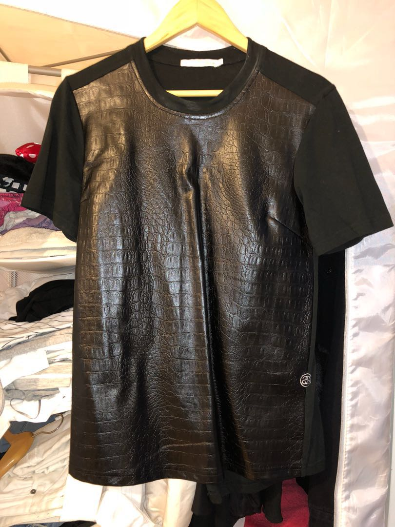 Stussy faux leather t shirt