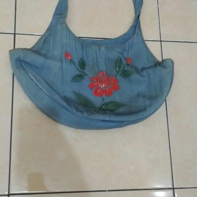 Tas jeans motif bunga cap