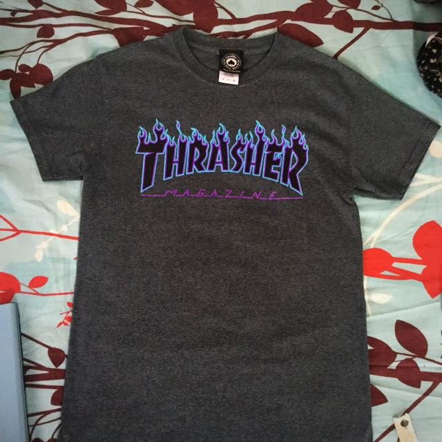 025db14b5857 Thrasher Dark Heather Flame Logo Shirt, Men's Fashion, Clothes on Carousell