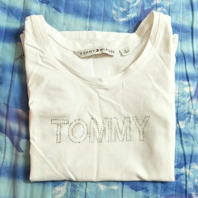 正品Tommy Hilfiger白色logo貼鑽短袖T恤