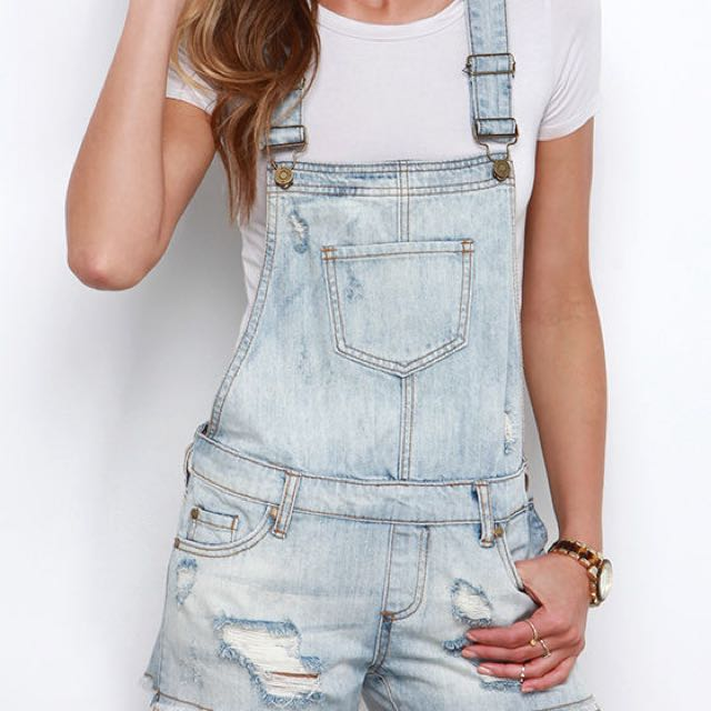 Top Shop denim overall shorts