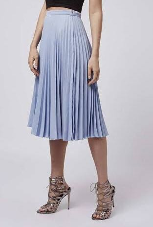 Topshop faux leather pleated skirt midi