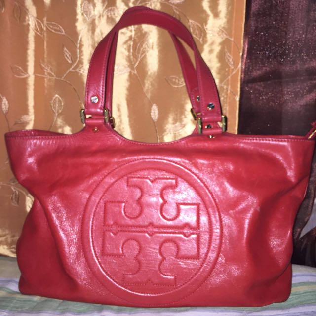 TORY BURCH RED LEATHER BOMBE BURCH TOTE
