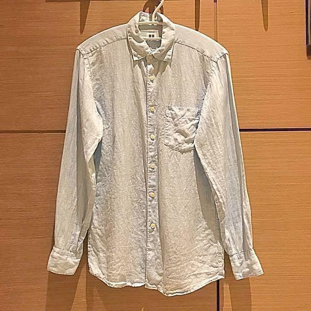 UNIQLO 藍色棉麻襯衫#超取再七折