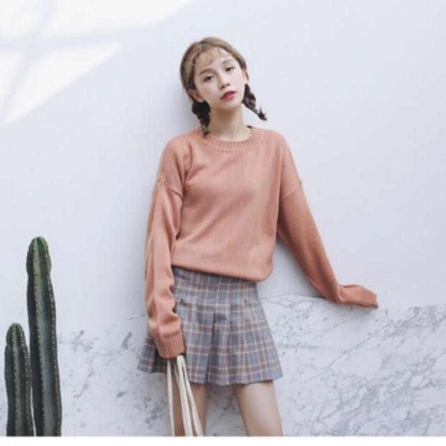 Uzzlang Loose Sweater Knitted Long Sleeve Top