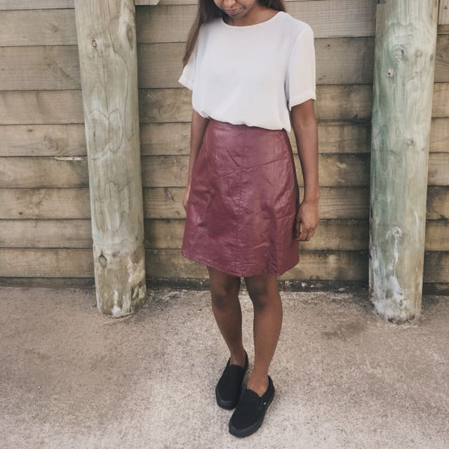 Vintage Wine Leather Mini Skirt