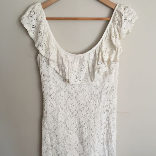White Lace Dress With Low Back