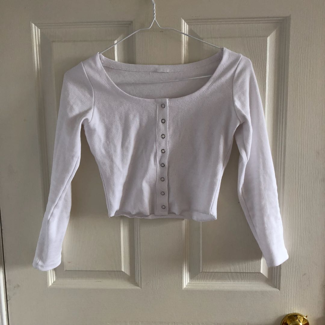 white ribbed button down top