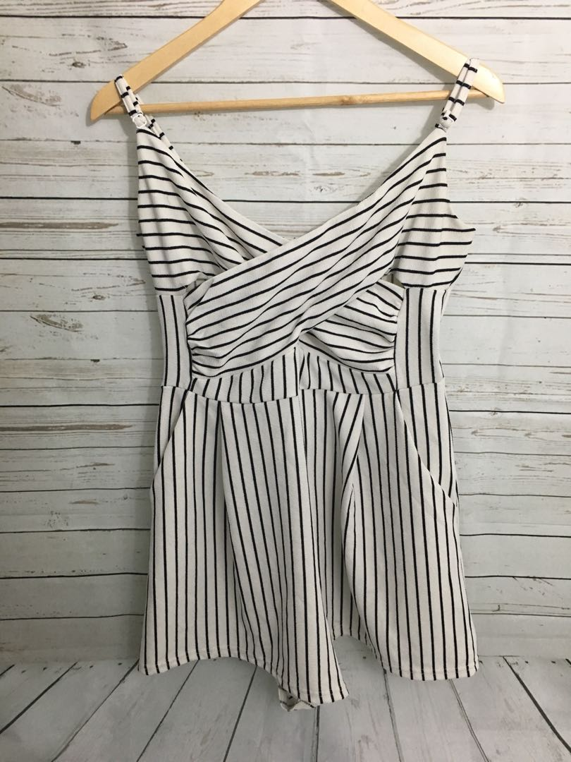 Womens TEMT Playsuit Ladies Romper dress - Size 12 White Striped Cut Out