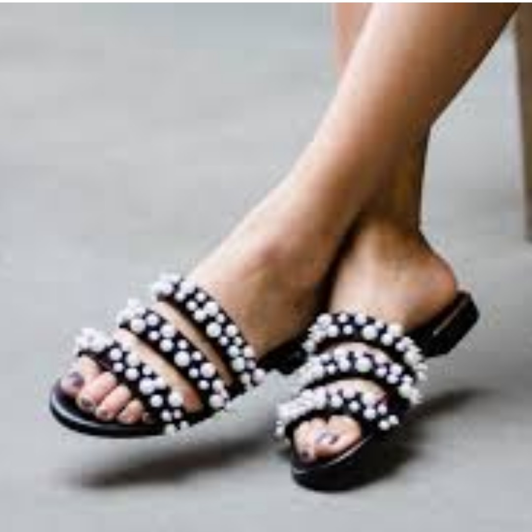 Zara pearl slide sandals 7au EU38 (New)